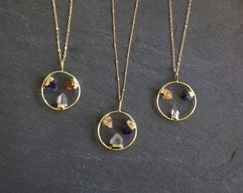 Triple Crystal⊿ Crystal Necklace⊿  Citrine Necklace ⊿ Quartz Necklace ⊿  Amethyst Necklace ⊿  Raw Citrine ⊿ Raw Amethyst ⊿  Raw Quartz