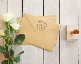 "Rustic Antlers Return Address Stamp - Custom Monogram Circular Rubber Stamp Gift - Wedding Invitations Stamp - 2"" x 2"""