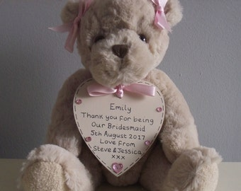 Personalised Bridesmaid Flower Girl Gift Teddy Bear - Choose Colour