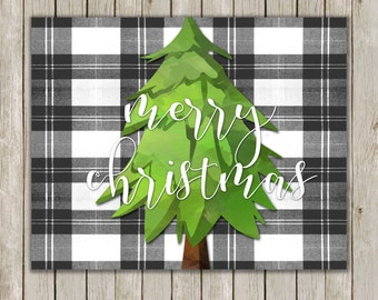 8x10 Christmas Tree Printable Art, Merry Christmas, Typography Art, Watercolor Art Poster, Plaid Holiday Decor, Instant Download