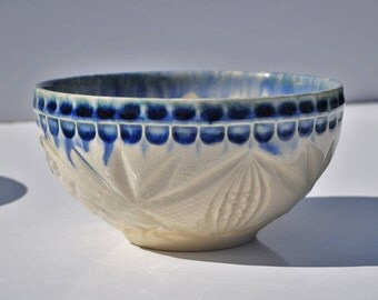 Studio Pottery Bowl, Slip Cast Mold From Vintage Pressed / Cut Glass, Handmade, Carved Incised Earthenware Clay, Collectible Ceramics
