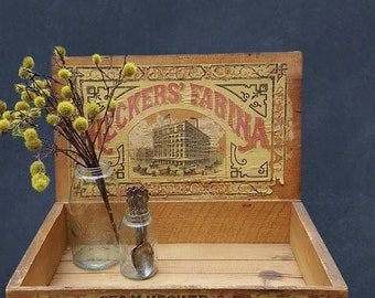 Antique General Store Display Box, Antique Advertising, Heckers' Farina