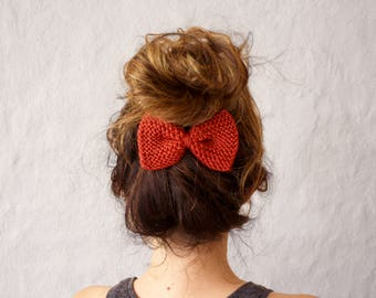 Knit Hair Bow in Red - Hair Accessories