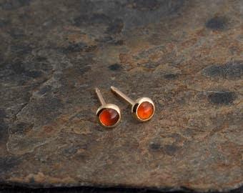 Carnelian Stud Post Earrings Gold Carnelian Earrings Stud Earrings Gold filled Shiny Gold Earrings Minimalist Jewelry 3mm