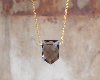 Smoky Quartz Necklace, Geometric Crystal Necklace, Quartz Jewellery, Natural Gemstone Pendant, Smokey Quartz Jewelry, Pentagon Necklace