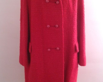 Vintage 1960's Bromleigh Hot Pink Tweed Wool Double Breasted Coat Rhinestone Buttons Sz Large Mod Ladylike Mad Men