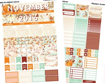 November Monthly View kit, November Monthly Planner Stickers, Fall Stickers, Thanksgiving, Fall Sticker kit, Holiday Kit, Printable Sticker