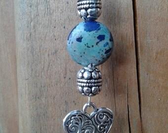 81) Pendentif en pierre semi précieuse Jaspe Impérial avec chaine en argent .925 de 18 pouces