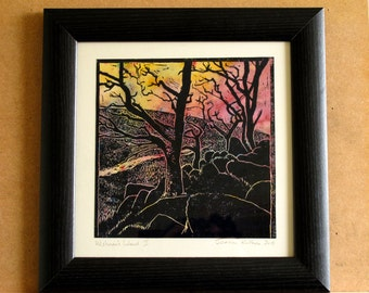 Wistman's Wood, Dartmoor, woodland, sillhouette, bare trees, linoprint,