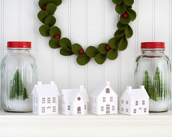 DIY Putz Village Christmas Decorations DIY Christmas Putz House Kit Set of 4 Glitter House Christmas Ornaments DIY Kit Christmas Crafts