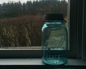 Turquoise Blue Vintage Ball Mason Jar Canning Jar #13 wedding decor