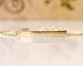 Skinny & Dainty Coordinates Bracelet - 35x3.2mm - Personalized Bar Bracelet, Engraved Bar Bracelet, Custom Skinny Bar Bracelet