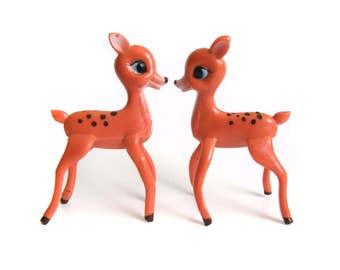 Rubber Deer Figurines, Vintage Deer, Big Blue Eyed Fawn, Retro Vintage Rubber Reindeer Christmas Decorations