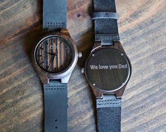 Gift for Dad, FREE ENGRAVING, Wooden Watch, Gift for Him, Wood Watch, Personalized Watch, Wedding Gift, Groomsmen Gift, Fathers Day Gift