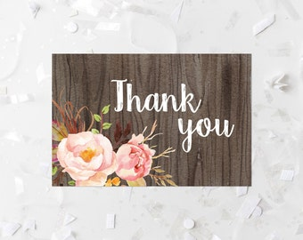 Bohemian Thank You Card Printable Boho Thank You Note Pink Floral Thank You Card Rustic Shower Thank You Boho Wedding Thank You Wood 265