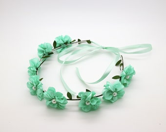 Aqua Green Baby Flower Crown, Toddler Flower Crown, Teal Flower Crown, Girls Flower Crown, Flower Headband, Wreath Silk Floral Crown, 1079