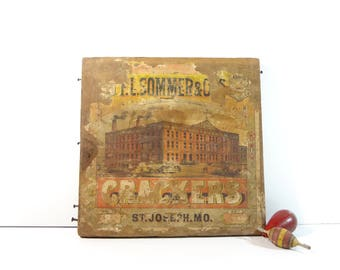 Vintage Wood Crate End / 1800s F.L. Sommer Crackers Advertising Crate End Sign / Rustic Decor