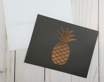 Pineapple Card, Thinking of You Card, Hello Card, Just Because Card, Encouragement Card, Gold Foil Card, Any Occasion Card