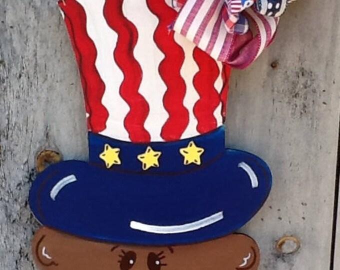 Patriotic door sign, patriotic door hanger, bear door hanger, Uncle Sam sign, usa door sign, USA door hanger, God Bless America door sign