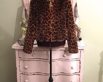 Leopard Faux Fur Jacket, St John Marie Gray, Faux Leopard Coat, M/ML, Faux Bomber Winter Jacket, Leopard Faux Fur Jacket, Designer Jacket, M