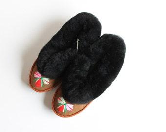 Black sheepskin slippers