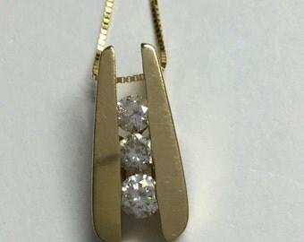 14k Yellow Gold Past Present Future Diamond Pendant 1/3cttw Channel Set