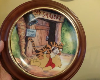 Winnie the Pooh Bradford Exchange Fun In 100 Acre Woods Hello Pooh 1st Issue, Winnie the Pooh plate with frame.