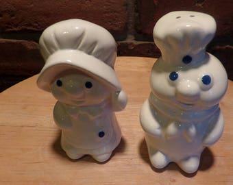 Pillsbury Doughboy and Girl salt and pepper shakers, Ceramic Pillsbury shakers, 1980's prop