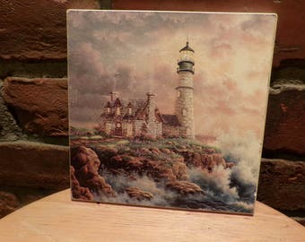 Vintage nautical tile trivet, Vintage lighthouse trivet, beach house décor, Nautical kitchen décor