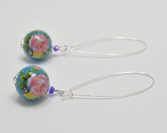 Aqua blue tensha bead earrings