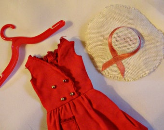 1964 Skipper *RED SENSATION DRESS* Straw Hat (the one with long ribbons)& Hanger Excellent! #1901-Vintage Barbie Outfit Accessories