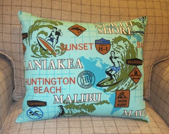 Surfing Pillow,  Man Cave Pillow, Malibu Pillow, Pipeline Pillow, Beach Pillow,Huntington Beach,Laniakea, Mens Gift, Extreme Sports Pillow