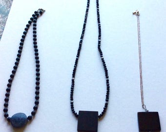 Hand Carved Ebony and Serpentine Necklace Strands  Designed and Handmade by Andrea Comsky
