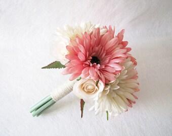 Pink Bridesmaid Bouquet, Maid of Honour Bouquet, Wedding Bouquet, Ivory Daisy Wedding Bouquet, Floral Bouquet, Rustic Wedding Bouquet