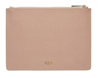 PERSONALISED MONOGRAMMED Genuine Leather Women's Pouch Clutch Taupe Nude Beige