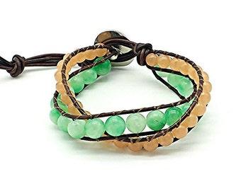 beach bracelet, leather wrap bracelet, beaded wrap bracelet, wrap bracelet, gemstone leather wrap bracelet, jade bracelet