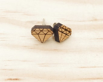 Earrings studs wood diamonds geometric bamboo plywood and hypoallergenic surgical steel stud backing with butterfly clasp