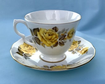 Yellow Roses Tea Cup and Saucer Set, Queen Anne England Bone China Teacup Set, Replacement China, Mom Bridesmaid Sister Gift, Gifts under 20