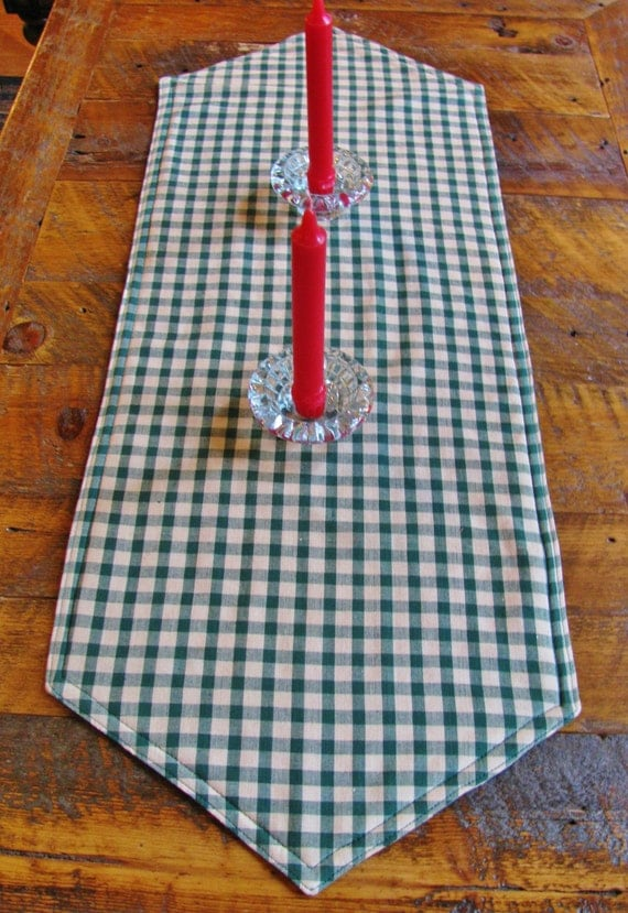 Green Tan Checkered Table Runner