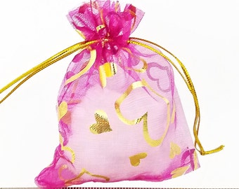 Organza Bags - 15 Fuchsia Sheer Voile Drawstring Bag with Pretty Foil Hearts - 11x9cm Drawstring Bags for Jewelry - Party Favor Bags - BG421