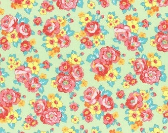 Retro 30's Child Smile Floral Bouquet fabric in Light Green from Lecien #31444-60 Fall 2016