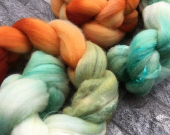 Pumpkin Patch - Hand Dyed Merino Silk Braid Combed Top - Approx 50g - Spinning Weaving Felting