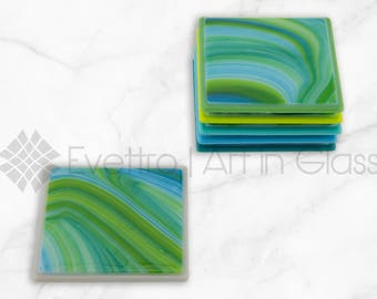 Solid Swirled Green Coasters, Set of 6