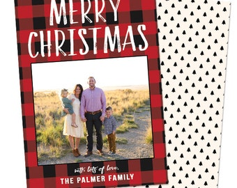 Buffalo Checkered Family Christmas Photo Card - 5x7 Digital Download