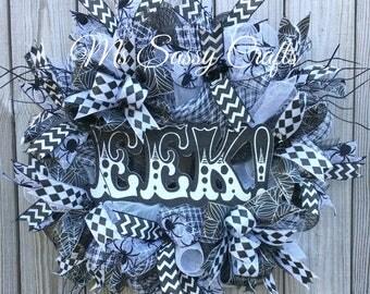 Halloween Wreath - Spider Halloween Wreath - Black and White Halloween Wreath - Halloween Deco Mesh Wreath - Halloween Door Hanger