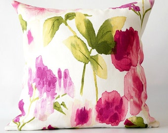 Purple Pink White Floral Pillow Cover, spring decor, pink pillow cover, pink floral pillow, decorative pillow cover, spring home decor