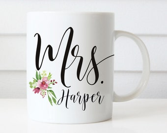 Mrs Mugs, Wedding Gift, Personalized Wedding Mugs, Engagement Gift, Coffee Mugs, Bride Gift, Floral Wedding Mug, Proposal Present