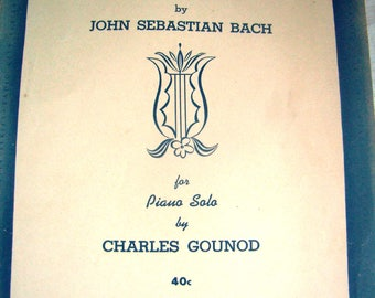 Old sheet music, Ave Maria by J.S. Bach for solo Piano by Ch. Gounod, ca 1960