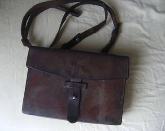 Rare! Shoulder bag, Swiss Army, brown leather, Messenger Bag, 1940