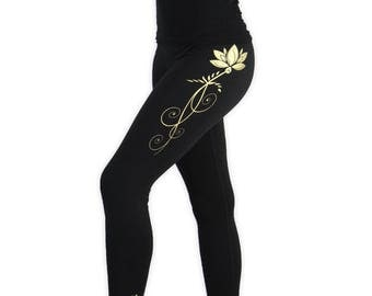 Lotus Yoga Pants- Lightweight Lotus Yoga Tights- Fold At Waist Tapered Leggings- LPA2 -Gold on Black